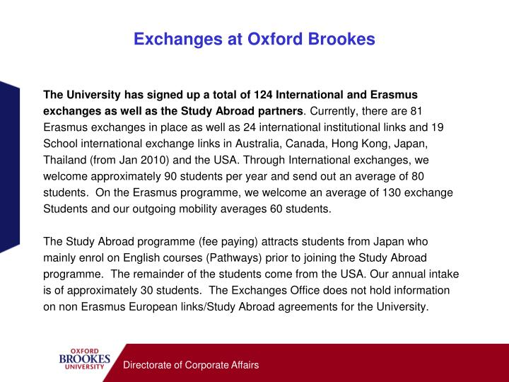 Exchanges at oxford brookes