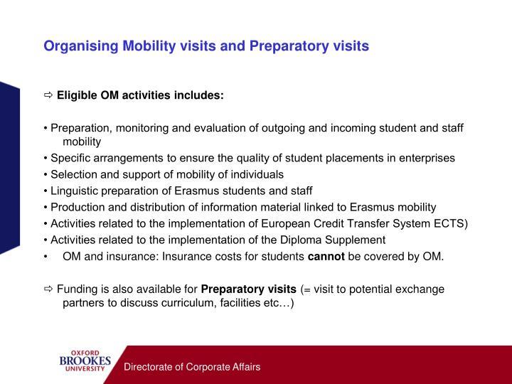 Organising Mobility visits and Preparatory visits