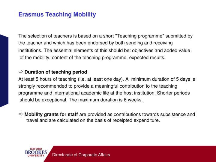 Erasmus Teaching Mobility