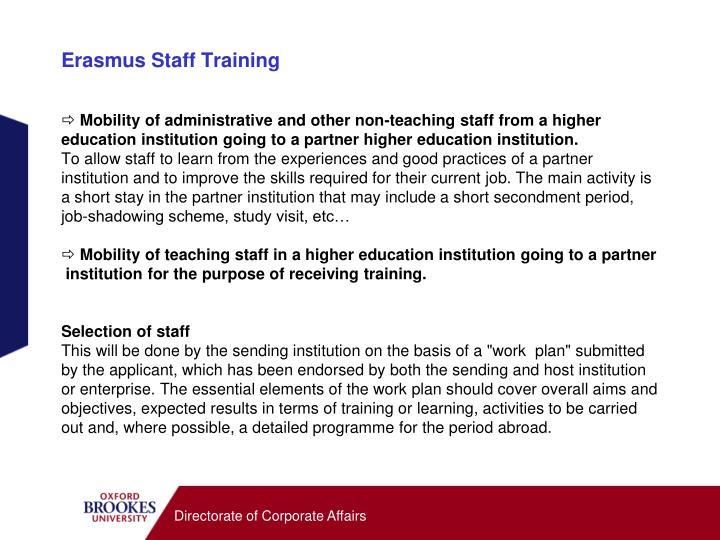 Erasmus Staff Training