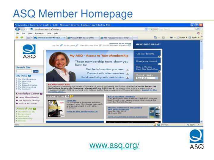 ASQ Member Homepage