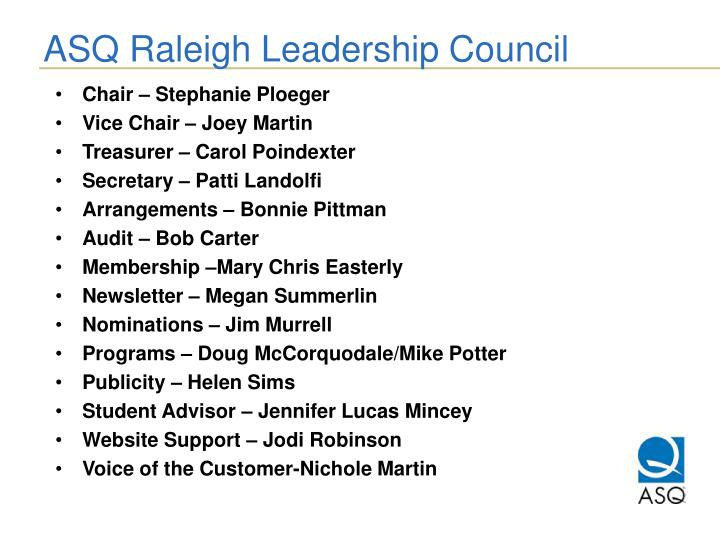 ASQ Raleigh Leadership Council
