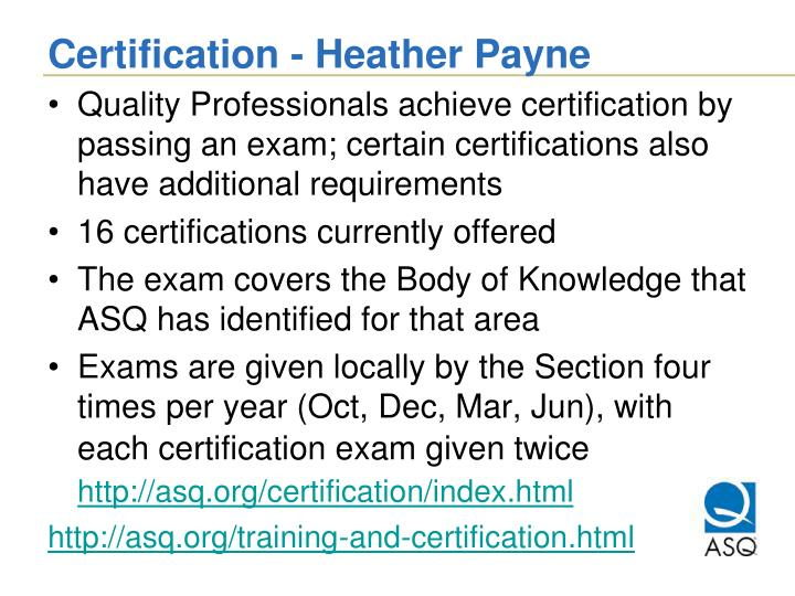 Certification - Heather Payne