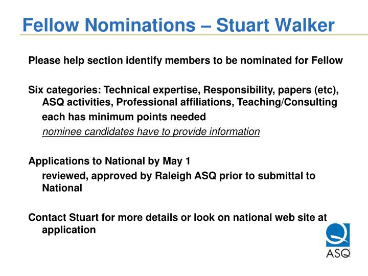 Fellow Nominations – Stuart Walker