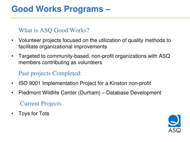 Good Works Programs –