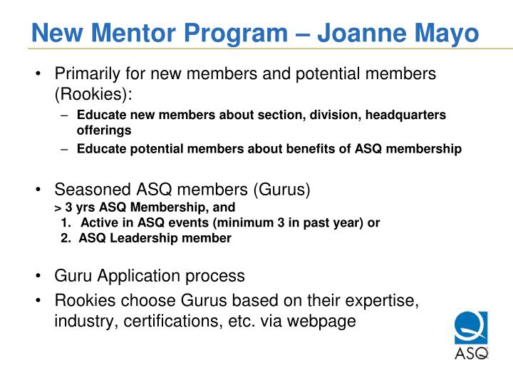 New Mentor Program – Joanne Mayo