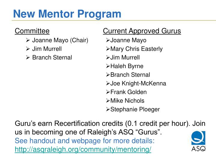 New Mentor Program