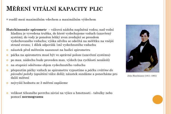 Měření vitální kapacity plic