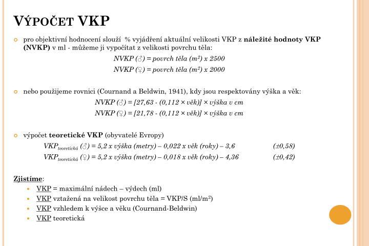 Výpočet VKP