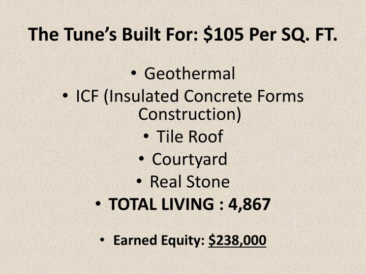 The Tune's Built For: $105 Per SQ. FT.