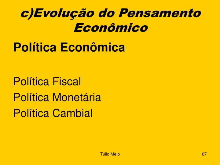 c)Evolução do Pensamento Econômico