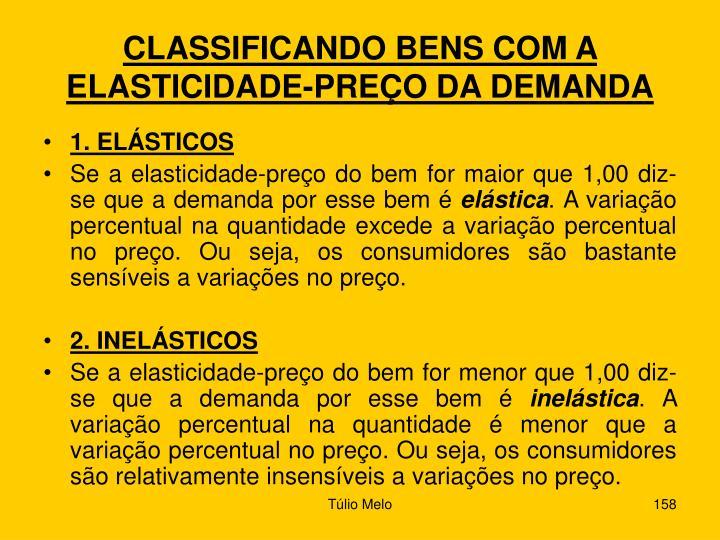 CLASSIFICANDO BENS COM A ELASTICIDADE-PREÇO DA DEMANDA
