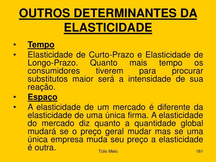 OUTROS DETERMINANTES DA ELASTICIDADE