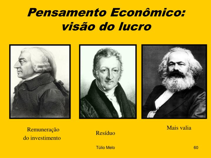 Pensamento Econômico:  visão do lucro