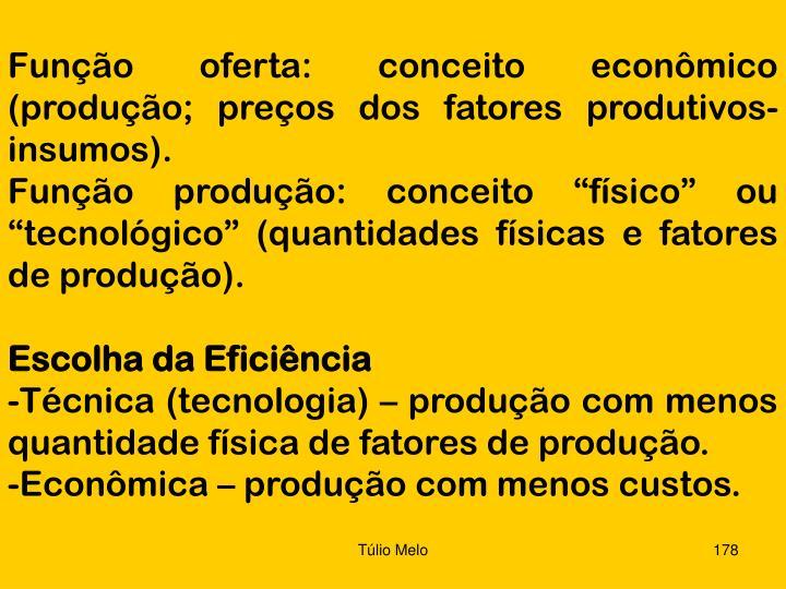 Função oferta: conceito econômico (produção; preços dos fatores produtivos-insumos).