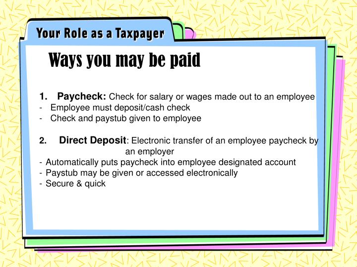 Ways you may be paid