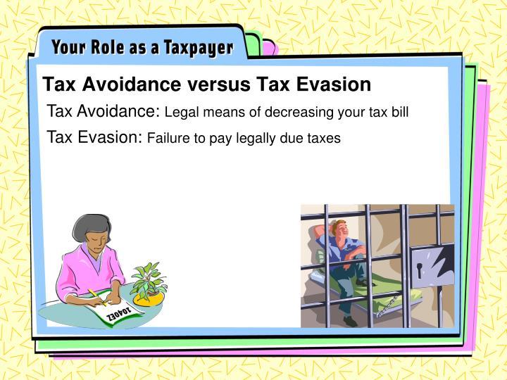 Tax Avoidance versus Tax Evasion