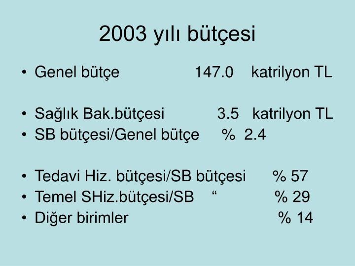 2003 yılı bütçesi