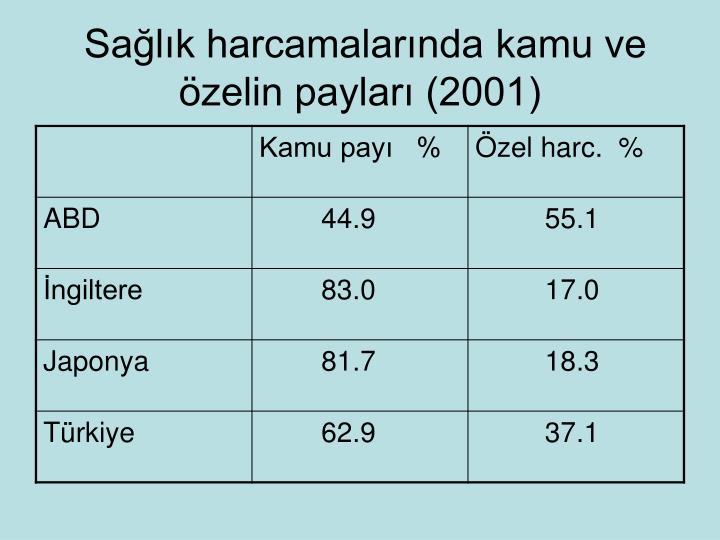 Sağlık harcamalarında kamu ve özelin payları (2001)