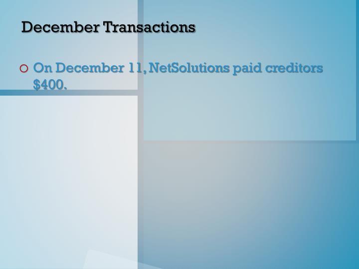 December Transactions