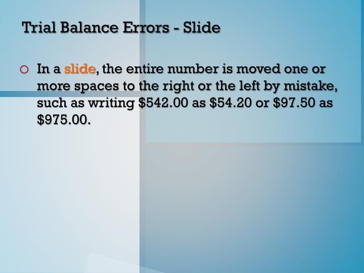Trial Balance Errors - Slide