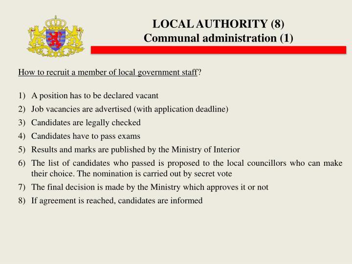 LOCAL AUTHORITY (8)