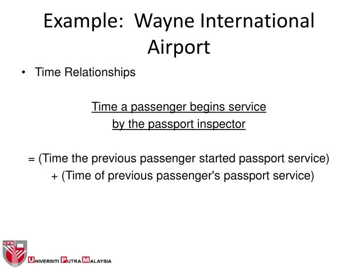 Example:  Wayne International Airport