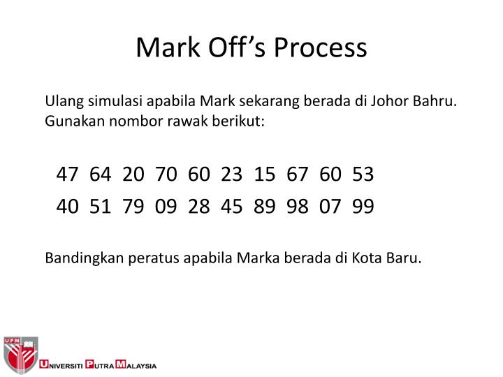 Mark Off's Process