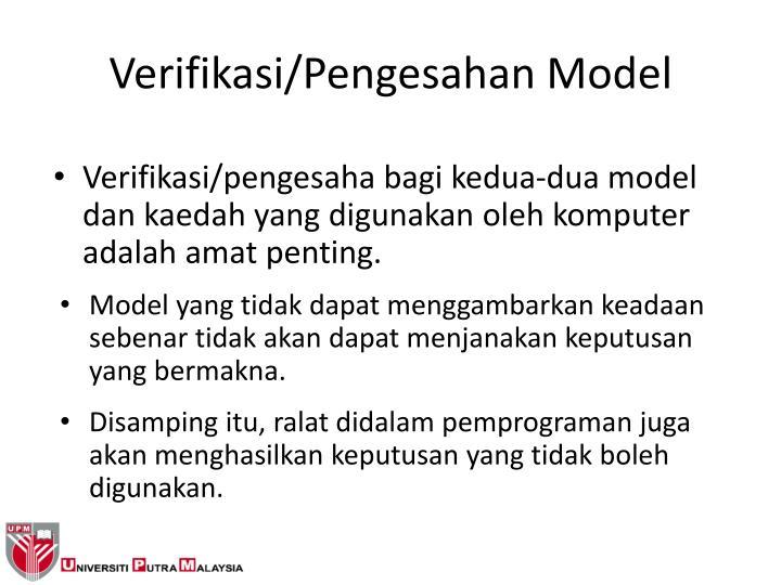 Verifikasi/Pengesahan Model