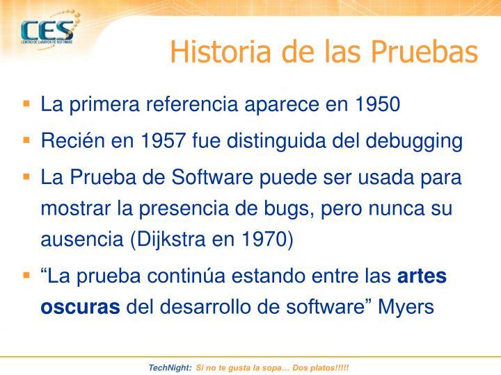 Historia de las Pruebas