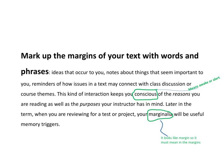 Mark up the margins of your text with words and phrases