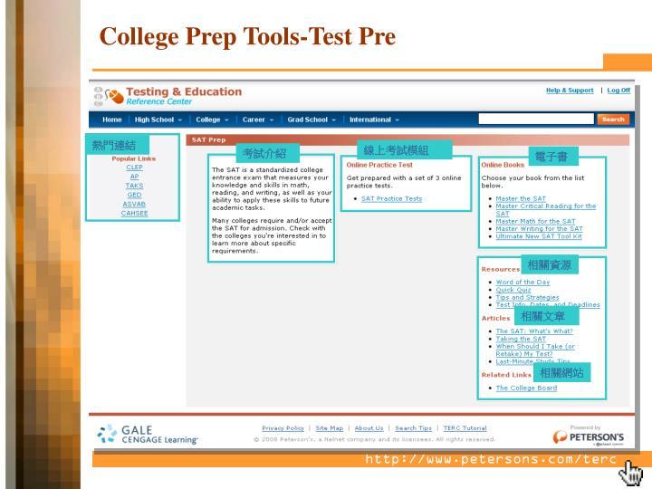 College Prep Tools-Test Pre
