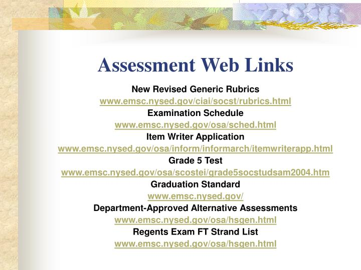 Assessment Web Links
