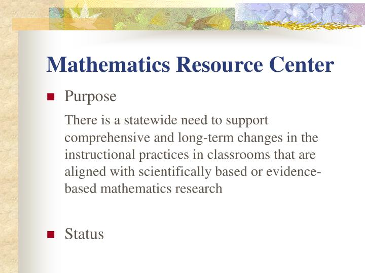 Mathematics Resource Center