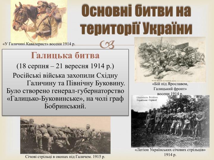 Основні битви на території України