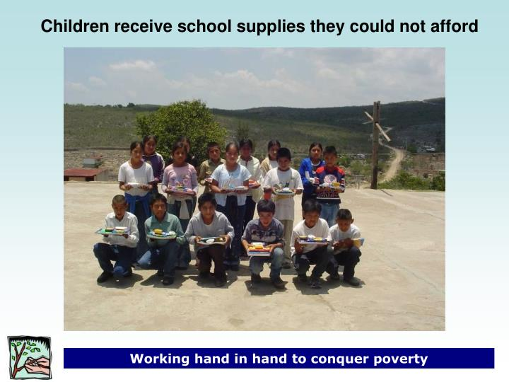 Children receive school supplies they could not afford