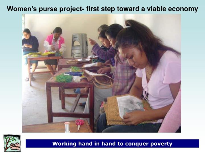 Women's purse project- first step toward a viable economy