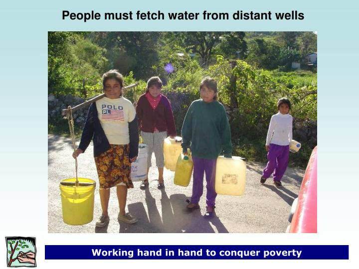 People must fetch water from distant wells