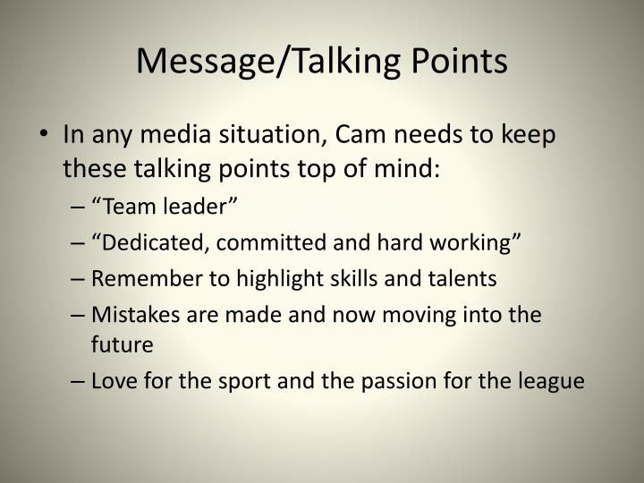 Message/Talking Points
