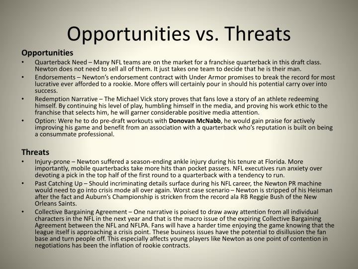 Opportunities vs. Threats