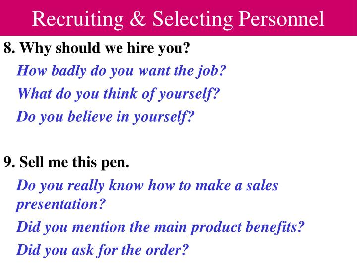 Recruiting & Selecting Personnel