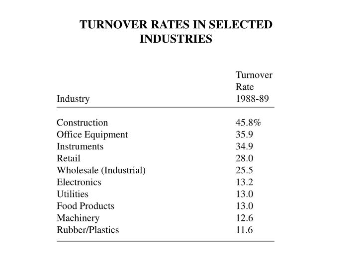 TURNOVER RATES IN SELECTED