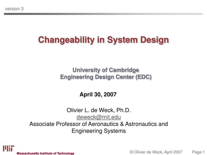 Changeability in system design