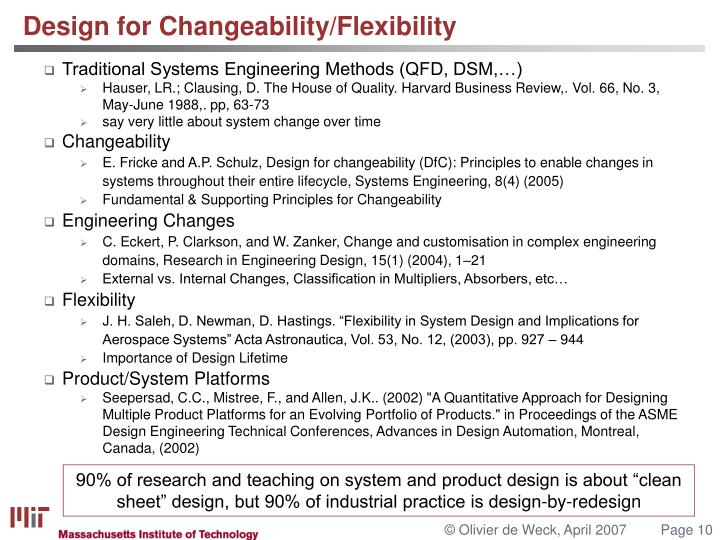 Design for Changeability/Flexibility