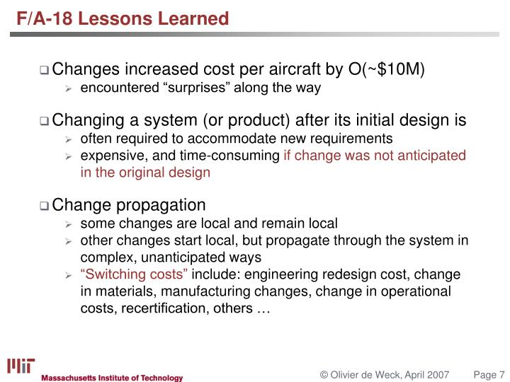 F/A-18 Lessons Learned