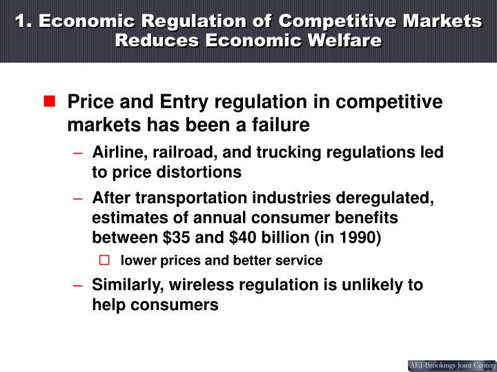 1. Economic Regulation of Competitive Markets  Reduces Economic Welfare