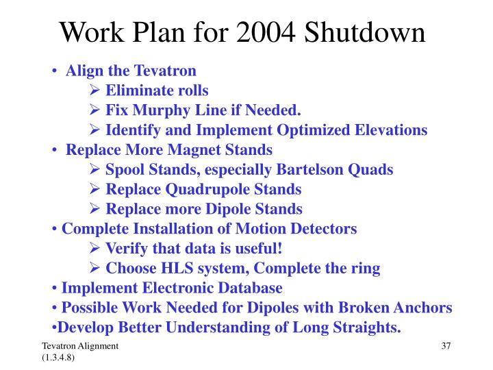Work Plan for 2004 Shutdown