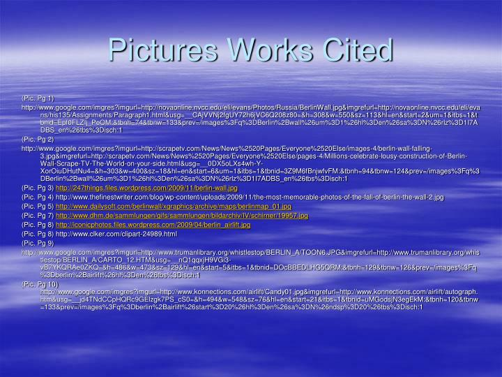 Pictures Works Cited