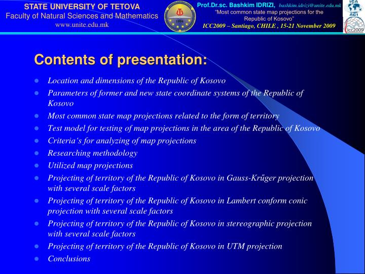 Contents of presentation: