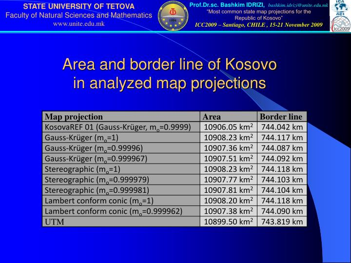 Area and border line of Kosovo
